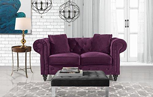 Divano Roma Furniture Classic Modern Scroll Arm Velvet Chesterfield Love Seat Sofa (2 Light Scroll Arm)