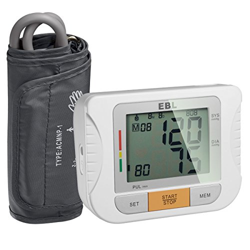 EBL Upper Arm Blood Pressure Monitor with Cuff - Large LCD Display - Highly Accurate and Fast Test, FDA-Certified