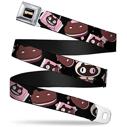 Buckle-Down Seatbelt Belt - Cookie Cat Pose/Sandwich Black/Pinks/Browns/White - 1.5