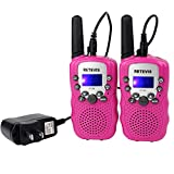 Retevis RT-388 Kids Walkie Talkie Rechargeable FRS/GMRS Long Range Two Way Radio 22 CH Handheld Radio Children Walkie Talkies with VOX Scan for Outdoors and Indoors (Pink,1 Pair)