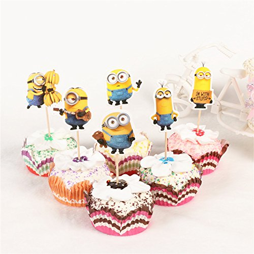 KBN 24pc Minions Cupcake Toppers for Party Decorations Supply Birthday Kids ()