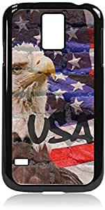 USA Flag and Eagle Wall Art- Case for the Galaxy S5 i9600- Hard Black Plastic Snap On Case with Soft Black pc lining