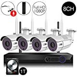 CamView Wireless Security Home Surveillance System 8CH 1080P WiFi NVR Kits + 4Pcs 2.0MP Wireless IP CCTV Cameras, 1TB HDD Pre-Installed