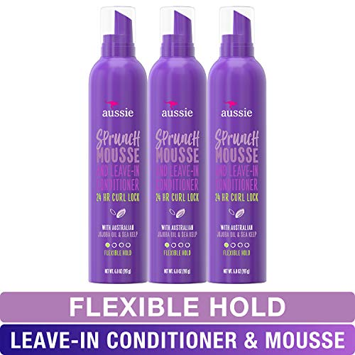 Aussie Leave In Conditioner & Mousse, with Jojoba & Sea Kelp, Sprunch, For Curly Hair, 6.8 fl oz, Triple Pack (Best Mousse For Thick Wavy Hair)