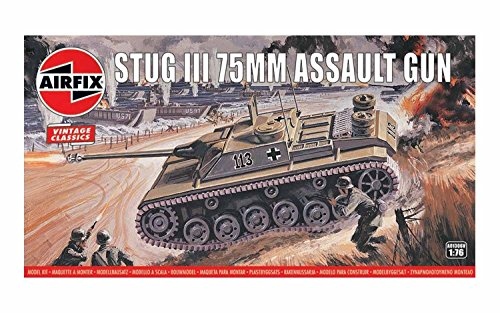 (Airfix Vintage Classics Stug III 75mm Assault Gun Tank 1:76 Military Ground Vehicle Plastic Model Kit A01306V)
