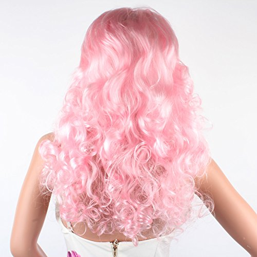 Weixinbuy Womens Long Curly Wavy Hair Synthetic Anime Cosplay Party Full Wigs Pink