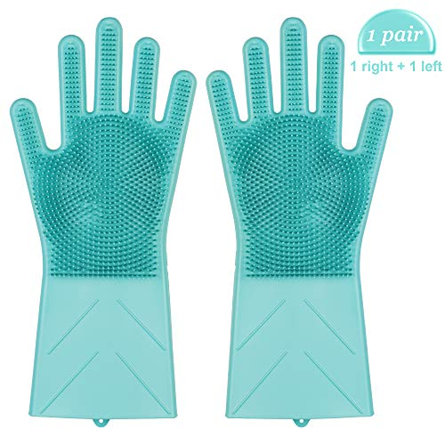 Magic Saksak Reusable Silicone Gloves with Wash Scrubber, Heat Resistant, for Cleaning, Household, Dish Washing, Washing the Car (14 Large,1-Pair) By i-Mate (Green)