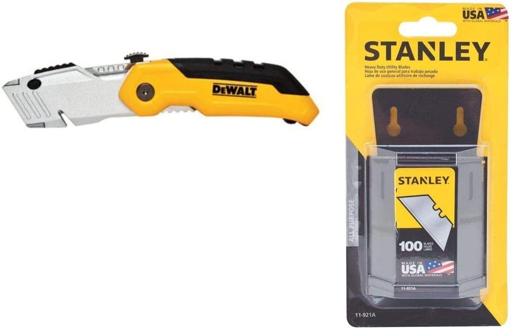 Dewalt DWHT11921A Folding Utility Knife and Heavy Duty Utility Blades with Dispenser Combo Pack