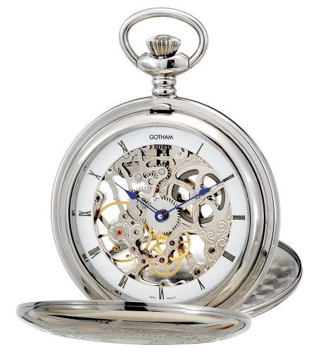 Gotham Men's Silver-Tone Mechanical Pocket Watch with Desktop Stand # - Watch Jewels Pocket 15