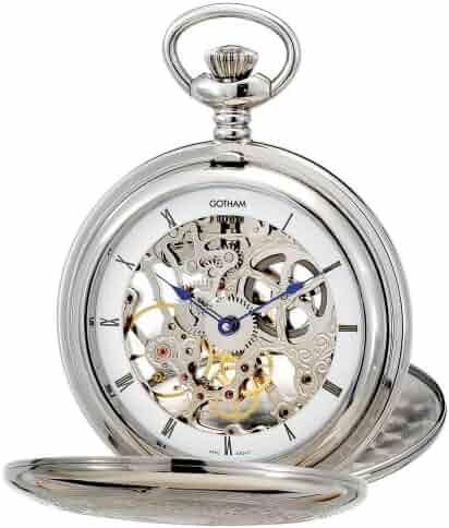Gotham Men's Silver-Tone Mechanical Pocket Watch with Desktop Stand # GWC18800S-ST