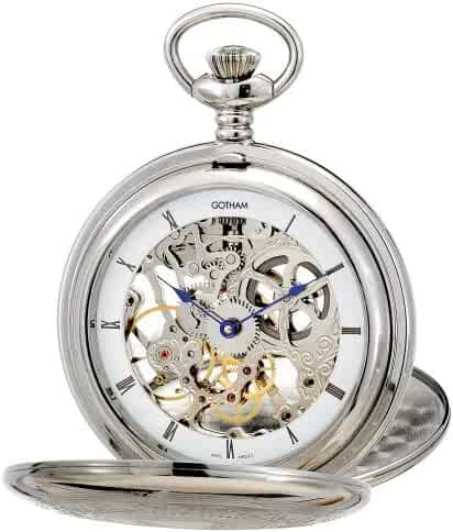 Gotham Men's Silver-Tone Double Cover Exhibition Mechanical Pocket Watch # GWC18800S