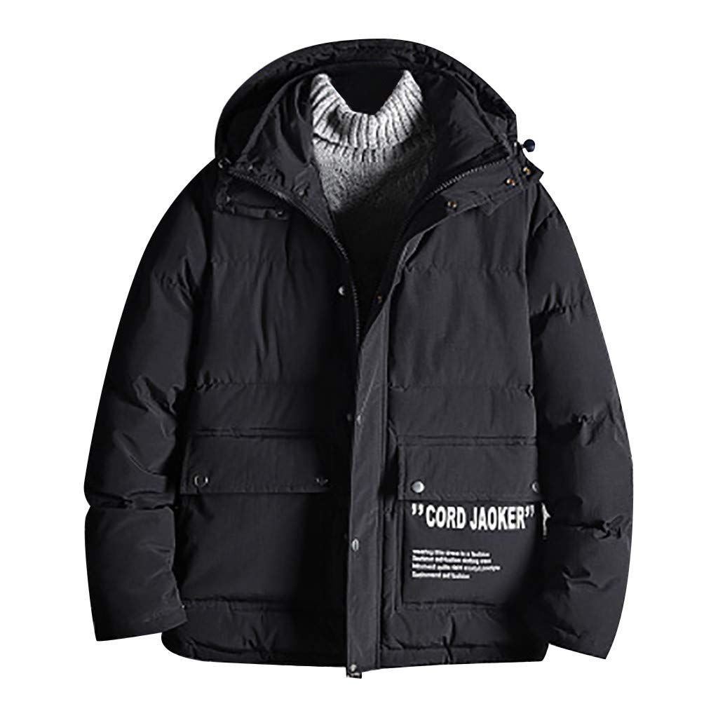 Dowager New Windproof Jackets, Men's Winter Casual Pure Color Hooded Coat Warm Cotton Detachable Hooded Outwear for Cold Weather by Dowager