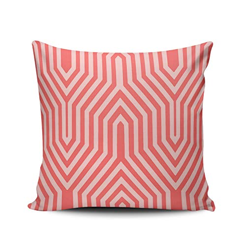 Fanaing Art Deco Geometric Coral Pink and Shell Pink Outdoor Pillowcase Home Sofa Decorative 26x26 Inch European Throw Pillow Case Decor Cushion Covers One-Side ()