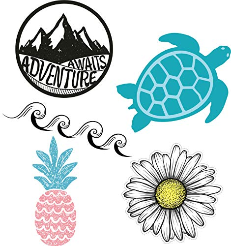 Cute & Trendy Laptop/Water Bottle Sticker Pack for Teens, Kids, Girls and Boys - Hydro Flask Decal Stickers - Wave/Ocean/Beach/Pineapple/Turtle/Summer Vinyl Stickers - Durable, 100% Vinyl & Waterproof