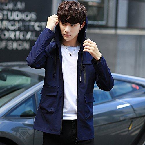 Giovani Coreana Autunno Uomini Una Solido Giacche xl Versione Blu Giacca Lunga cap Colore Uomo Di wRfntzqzU