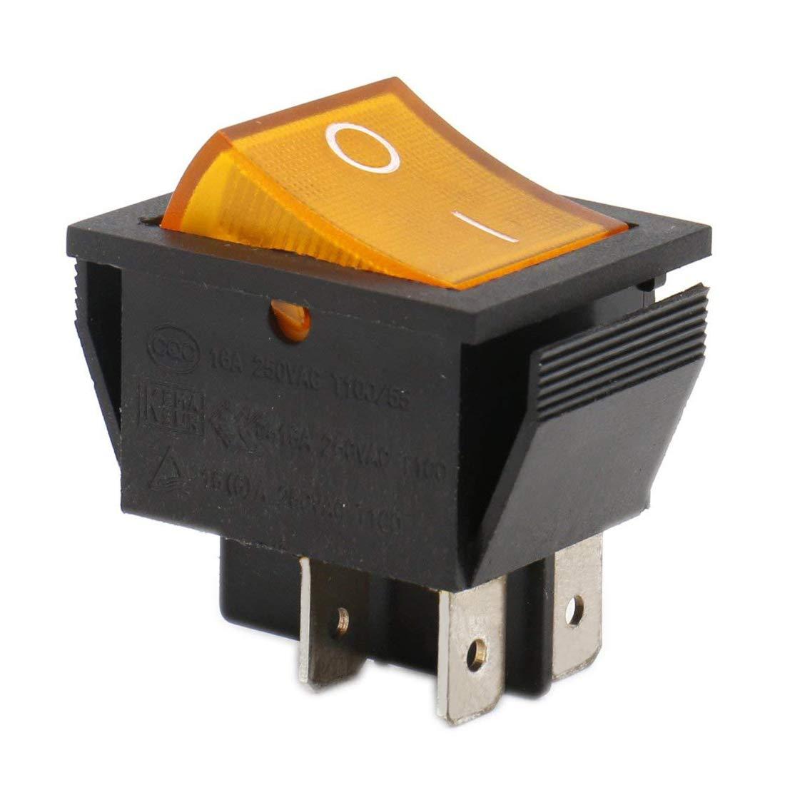 Heschen Interrupteur à bascule ON/OFF Dpst On-Off 4bornes lumière jaune 16A 250VAC Lot de 2 Ningbo Master Soken Electrical Co.Ltd RK1-01-HS-Y