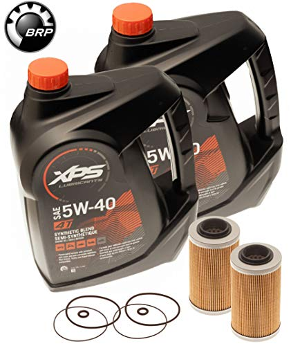 Sea Doo BRP Oil Change Kit W/ Filter & O Rings All 4-Tec GTX GTI RXP RXT 2 Pack (Brp Xps Synthetic Blend 4 Stroke Oil)