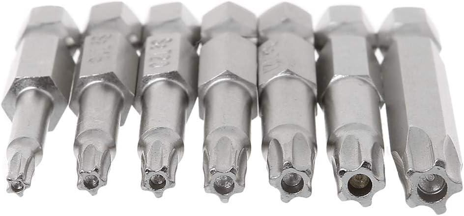 siwetg 7 Unids Star Drill bits Destornillador Magn/ético 1//4Hex Shank Herramientas De Mano De Cinco Puntas Star Bore T10-T40