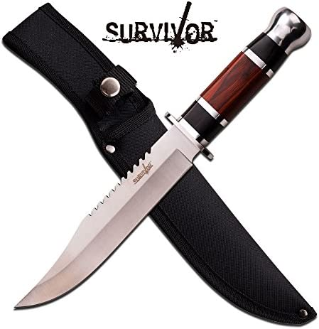 12 Wood Hunting Survival Skinning Fixed Blade Knife Full Tang Army Bowie