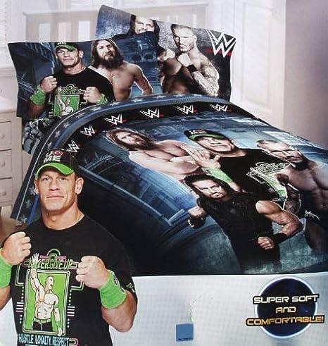 5 Piece Full Size WWE Super Stars Kids Bedding Soft Comforter And Sheet Set