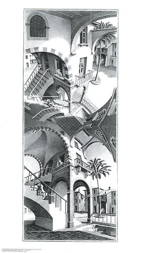 High and Low M. C. Escher Fantasy Poster Print 17.75x31.25