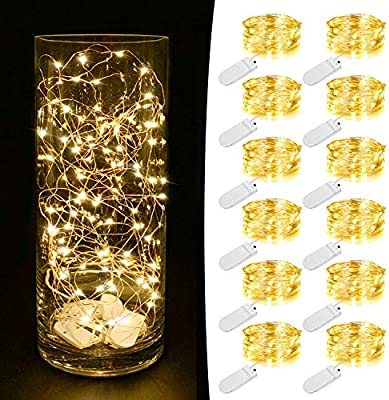Mumuxi 12 Pack Fairy Lights Battery Operated Included 7 2ft 20 Led Mini Waterproof Fairy String Lights Silver Wire Firefly Starry Lights For Diy Wedding Party Mason Jars Christmas Decor Warm White Amazon Ae