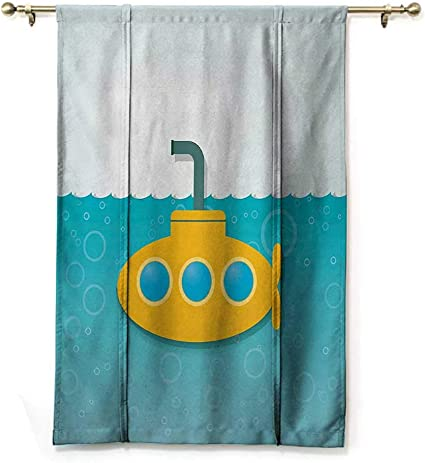 GugeABC Curtains Blackout Yellow Submarine Roman Blinds for Window Illustration of a Bathyscaphe in Cartoon Style Design Print 30 Wide by 64 Long Pale Yellow and Orange