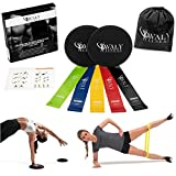 Avaly Fitness Professional Gliding Discs and 5 Exercise Resistance Loop Bands, Double-Sided Sliding Discs, Lightweight, Low-Impact Exercises to Workout Core, Glutes, Legs and Abs at Home/Anywhere