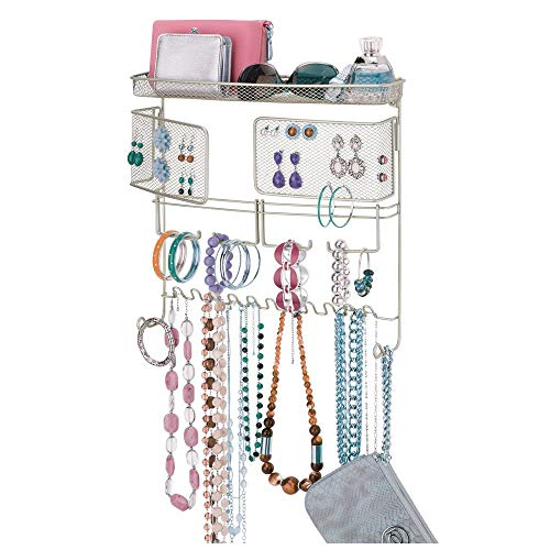 mDesign Decorative Metal Closet Wall Mount Jewelry Accessory Organizer for Storage of -