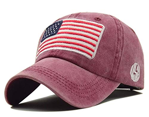 LOKIDVE Embroidered American Flag Baseball Cap Washed Cotton Low Profile Hat-Pink (American Flag Made Of Baseballs For Sale)