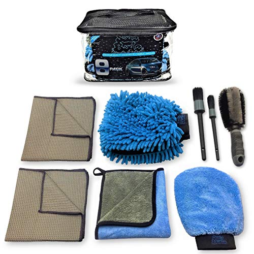 Sudz Budz Premium Microfiber Car Wash Kit 8pcs   Multipurpose Car Wash Mitts, Microfiber Towel Set, Wheel Brush, Car…