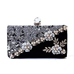 Luxury beaded Acrylic Flower Sequin Clutch