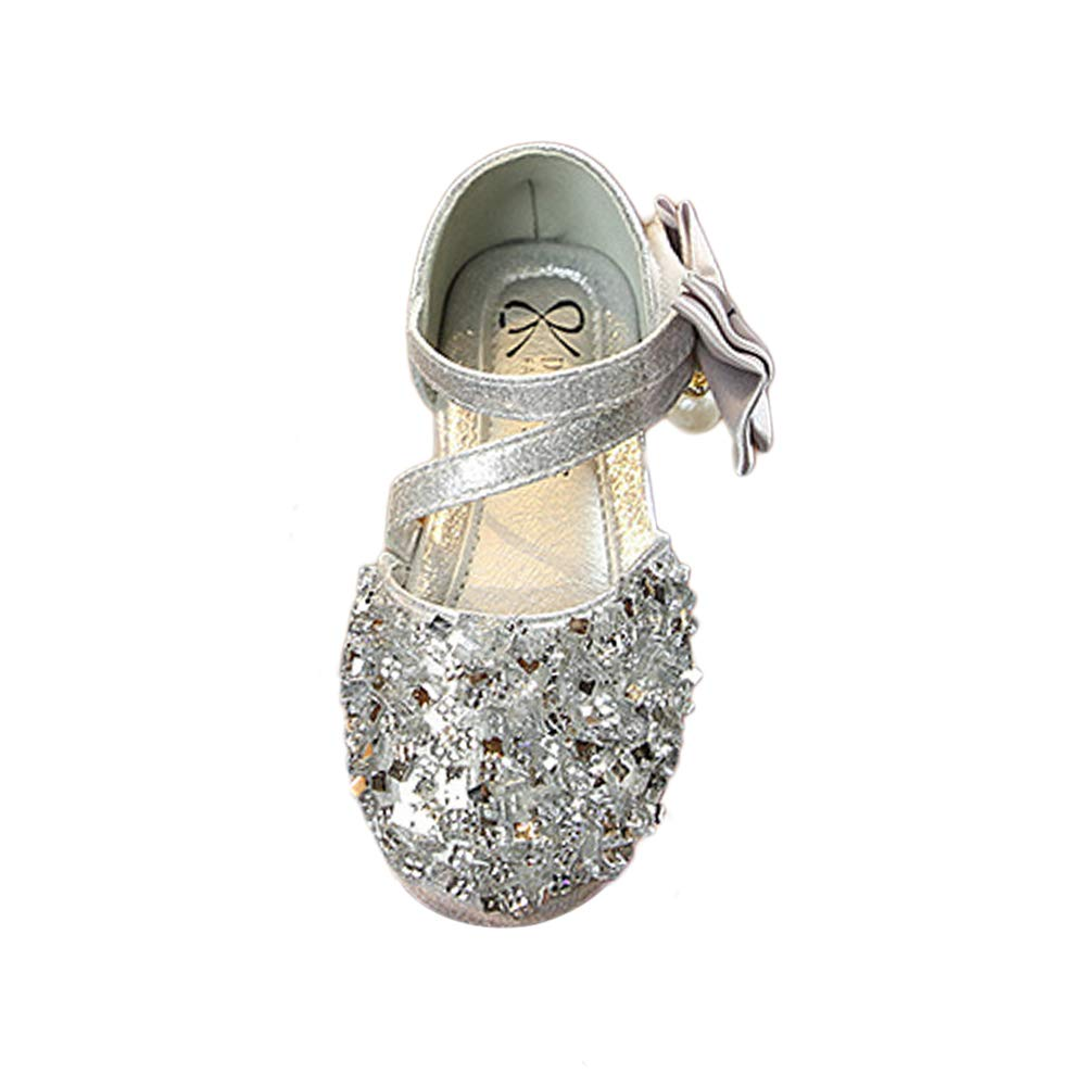 Wiselect Girls Bow Adorable Sparkle Mary Jane Princess Dress Shoes Sandals Toddler Little Kid