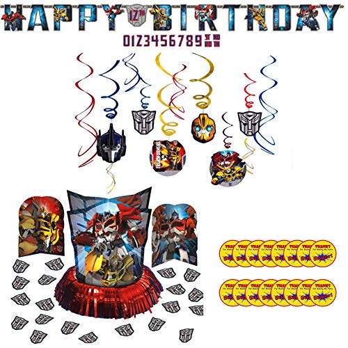 Transformers Party Supplies Pack for 16 Guests: Stickers, Hanging Swirls, Banner, and Table Decorating Kit]()