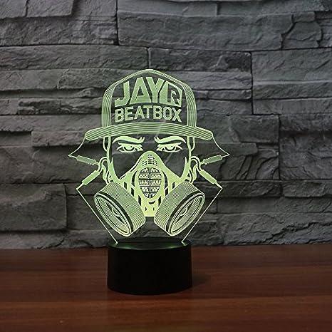 Bombero mascara forma USB 3D LED luz de la noche Creative ...