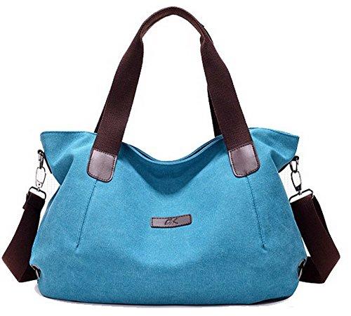 Voyage bandoulière à fourre Sacs AllhqFashion Mode Femme Sacs Bleu FBUFBC181497 tout Orné Bleu Toile wAZX0Sq