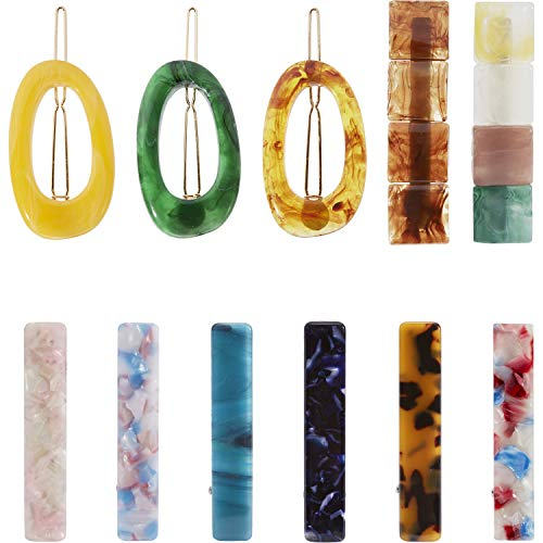 11 Pack Acrylic Resin Acid Acetate Jelly Rectangle Oval Vintage Retro Hair Clips Leopard Barrettes Geometric Hollow Hairpins Metal Alligator Snap Pins Duckbill Grips Claws Accessories for Women Girl