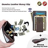 Mens Money Clip Wallet Leather Slim Front Pocket Magnetic RFID Money Clip Wallet (Brown)