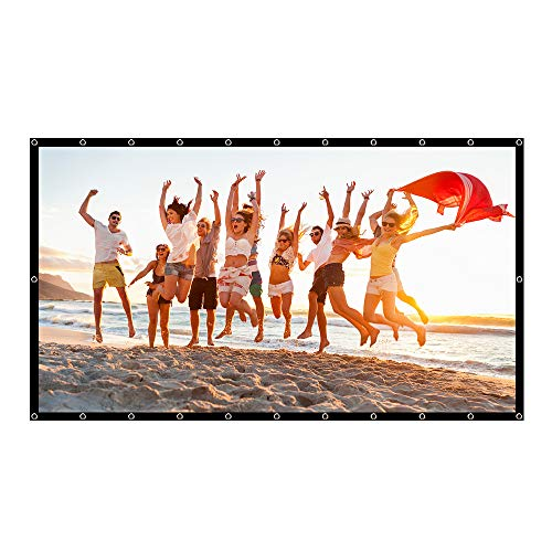 Projector Screen 84 Inch 16:9 Enhanced PVC Material HD Foldable Indoor Outdoor Portable Movie Projection Screen Home Theater Office ZOPro