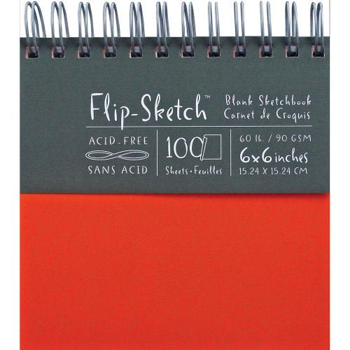 Global Art 6-Inch by 6-Inch Flip Sketch Wire Bound Blank Sketchbook, Madarin, 100 Pages