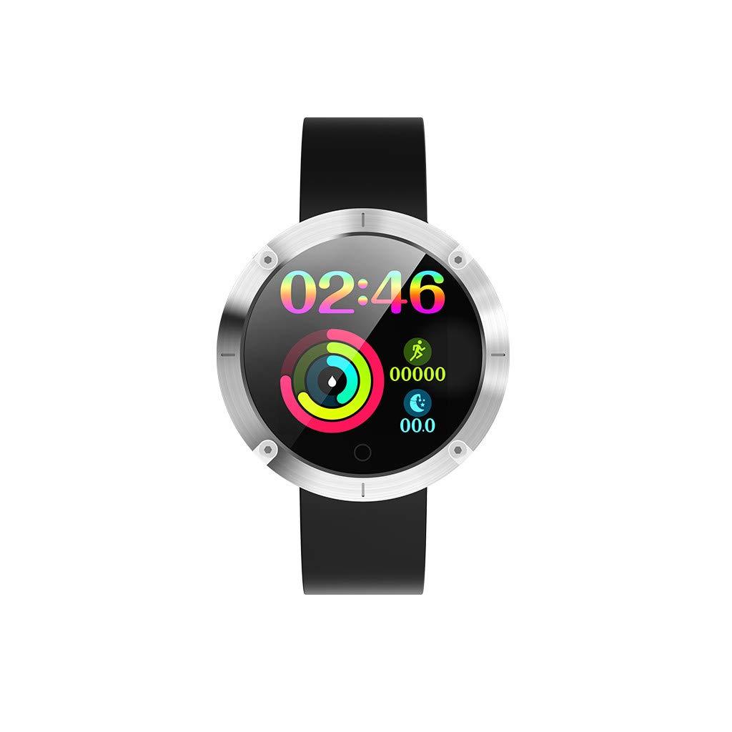 NDGDA, Blue-Tooth Smart Watch Heart Rate Oxygen Blood Pressure Sport Fitness Tracker W5 (Silver)