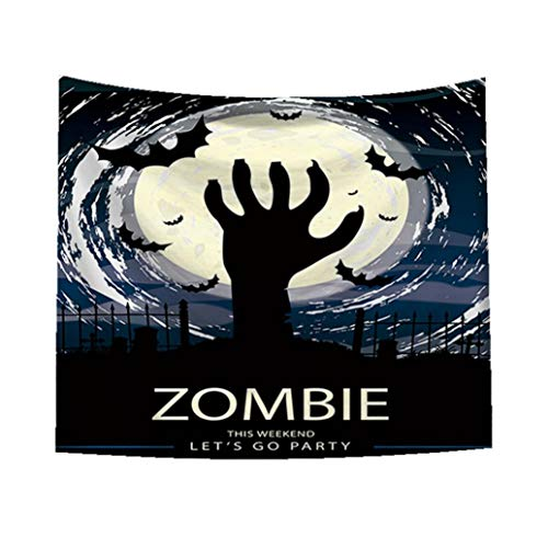 Unpara 2018 Halloween Happy Tapestry Horror Zombie Print Wall Hanging Home Decor (59