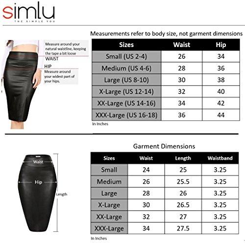 Simlu Black Leather Pencil Skirt for Women, Black Leather Scuba Skirt, X-Large by Simlu (Image #4)