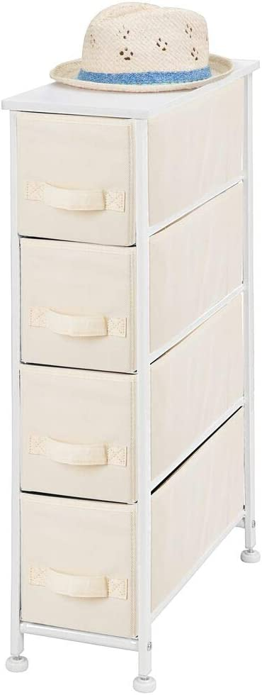 mDesign Narrow Vertical Dresser Storage Tower - Sturdy Metal Frame, Wood Top, Easy Pull Fabric Bins - Organizer Unit for Bedroom, Hallway, Entryway, Closet - Textured Print, 4 Drawers - Cream/White