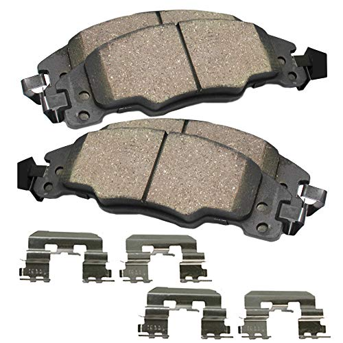 Detroit Axle - Both Front Ceramic Brake Pads w/Hardware Clips READ FITMENT CHART