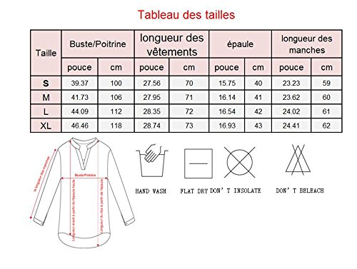 Chemisier Mousseline Longues Shirt Manches Yidarton Blouse Top Longue Femme V Col 4 Blanc Chemise Tunique 3 zqnAOUg