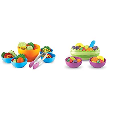 Learning Resources Garden Fresh Salad Set, Vegetables, Play Food, 38 Piece Set, Ages 2+ & New Sprouts Fresh Fruit Salad Set, Pretend Play Food, 18Piece Set, Ages 18 Mos+: Toys & Games