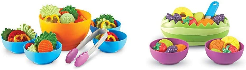 Learning Resources Garden Fresh Salad Set, Vegetables, Play Food, 38 Piece Set, Ages 2+ & New Sprouts Fresh Fruit Salad Set, Pretend Play Food, 18Piece Set, Ages 18 Mos+