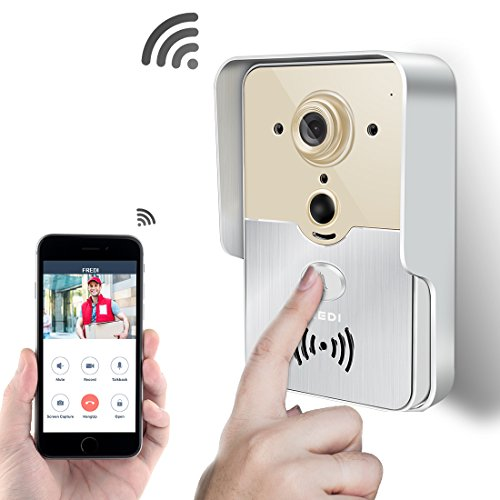 FREDI Smart Home WiFi Remote Video Door Phone Intercom Doorbell Camera HD 720P Support P2P Alarm IR Night Vision Supports iOS/Android System -  Jinbaixun Technology, WiFi-D901