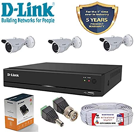 D-Link 4 Channel CCTV KIT 1MP 3PCS Bullet With All Accessories